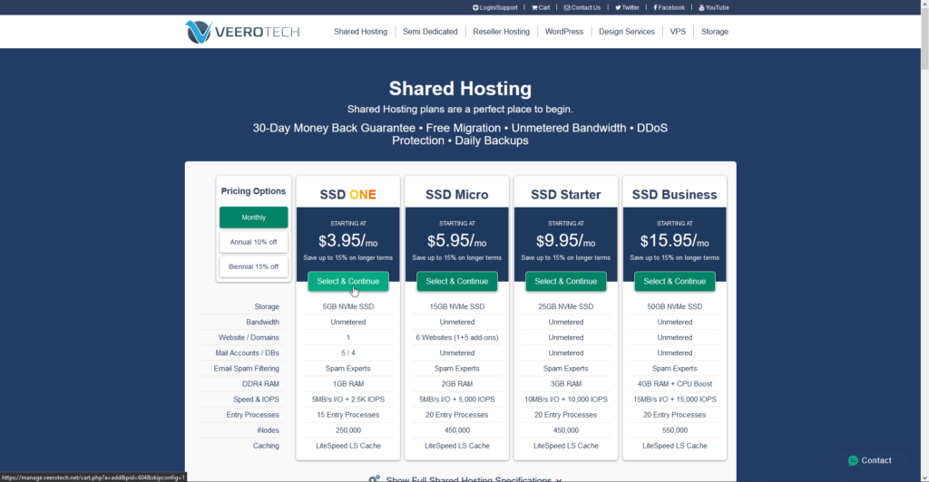 Veerotech shared hosting plans